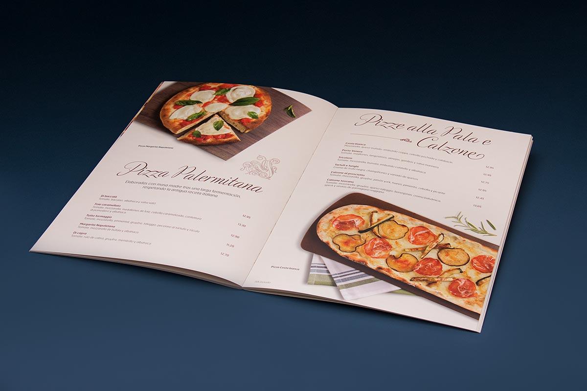 Ejemplo del rediseño de las cartas de comedor de La Tagliatella. Tea for two - diseño de cartas de restaurantes.