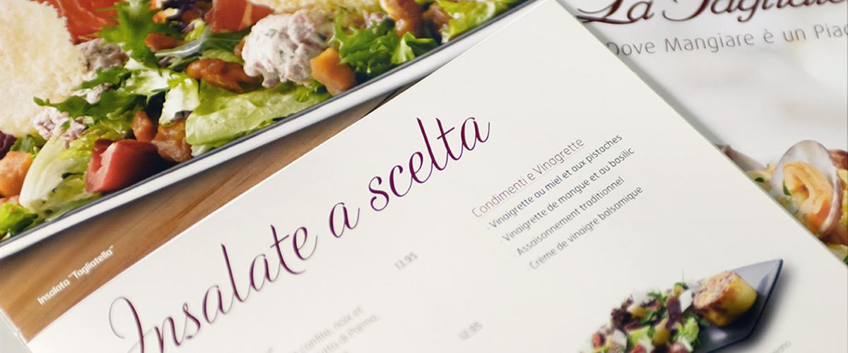 Rediseño de las cartas de La Tagliatella. Tea for two - estudio de diseño gráfico.
