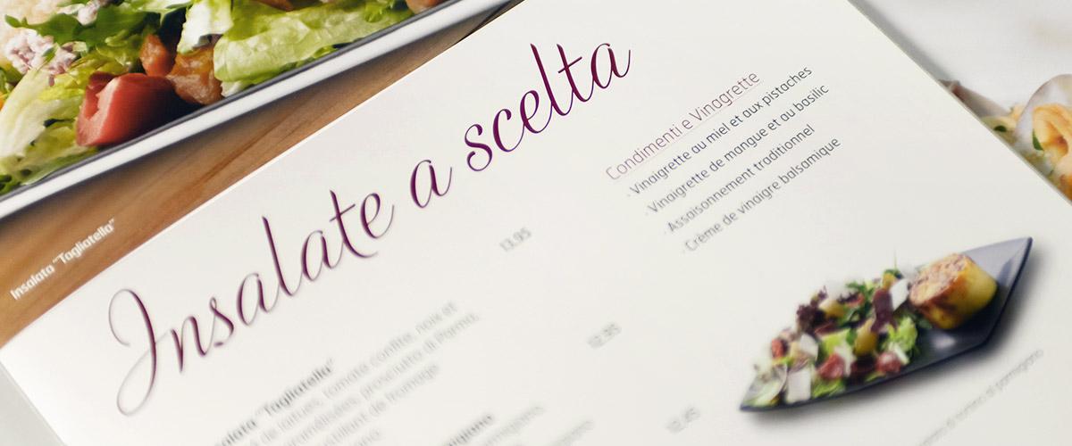 Menu redesign for La Tagliatella. Tea for two - graphic design studio.