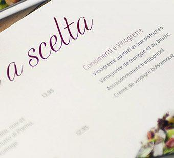 Mobile version of the menu redesign for La Tagliatella. Tea for two - graphic design studio.
