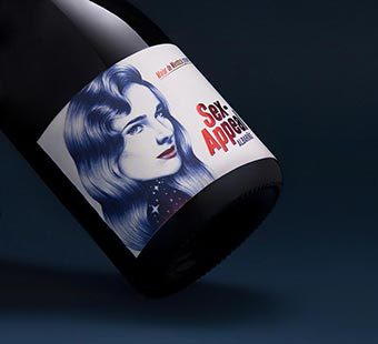 Versión para dispositivos moviles del diseño de etiqueta de vino Albariño para Maior de Mendoza. Tea for two - packs en Madrid.