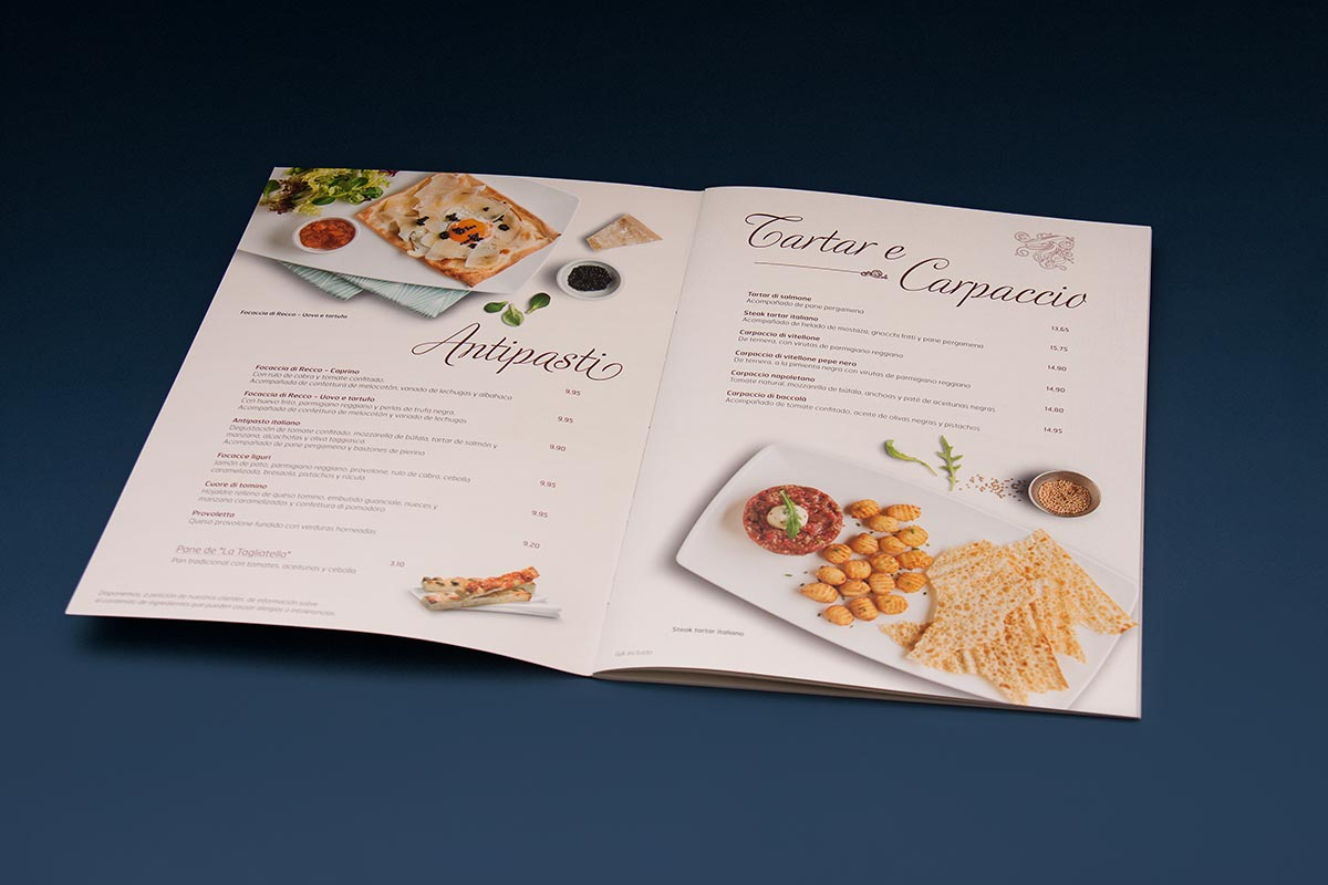 Double spread of the menu redesign for the chain of Italian restaurants La Tagliatella. Tea for two - restaurant menu design.