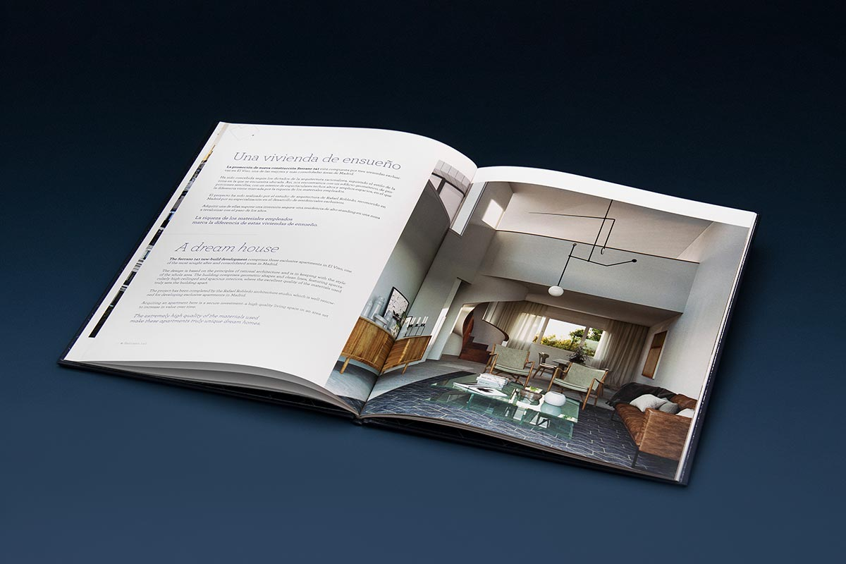 Double spread of the brochures design for the Knight Frank promotion of Serrano 141. Tea for two - editorial design.