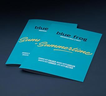 Versión para dispositivos móviles de la dirección creativa de la carta de cocktails para Blue Frog. Tea for two - diseño de cartas de restaurantes.