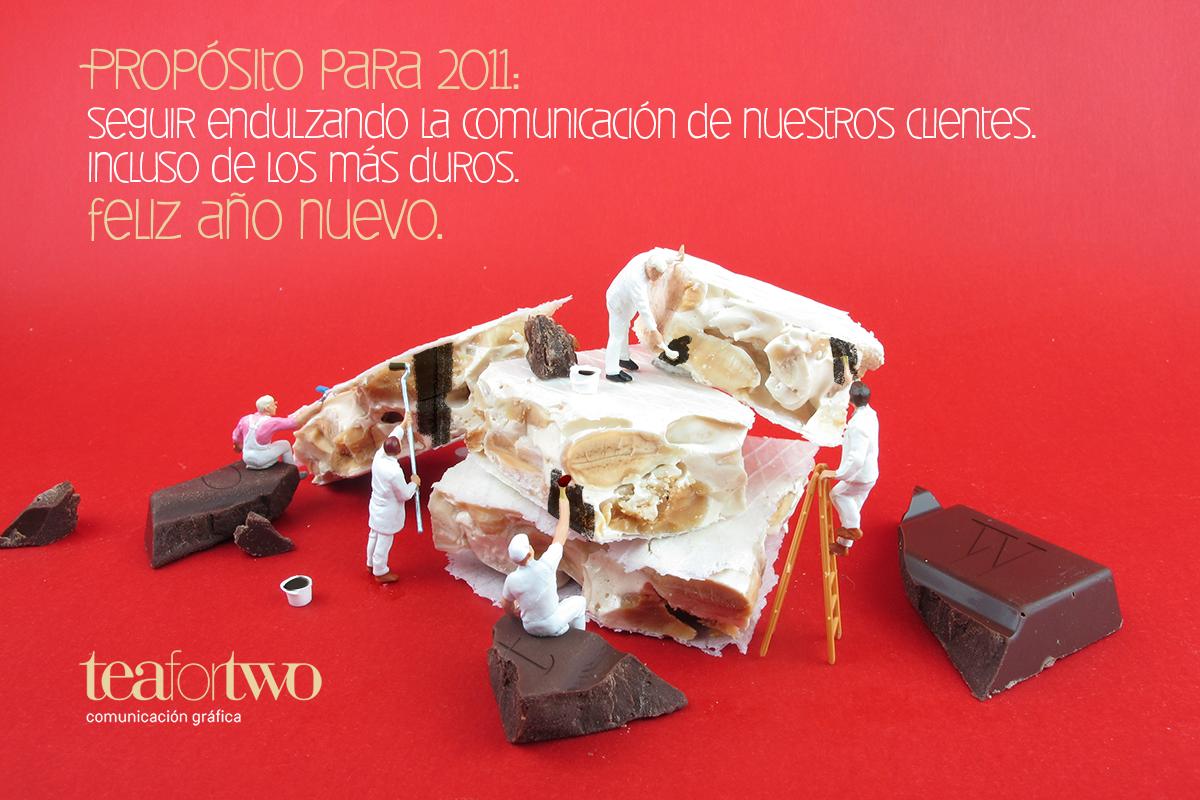 Felicitación navideña para los clientes de tea for two, comunicación gráfica. Tea for two - diseño web en Madrid.