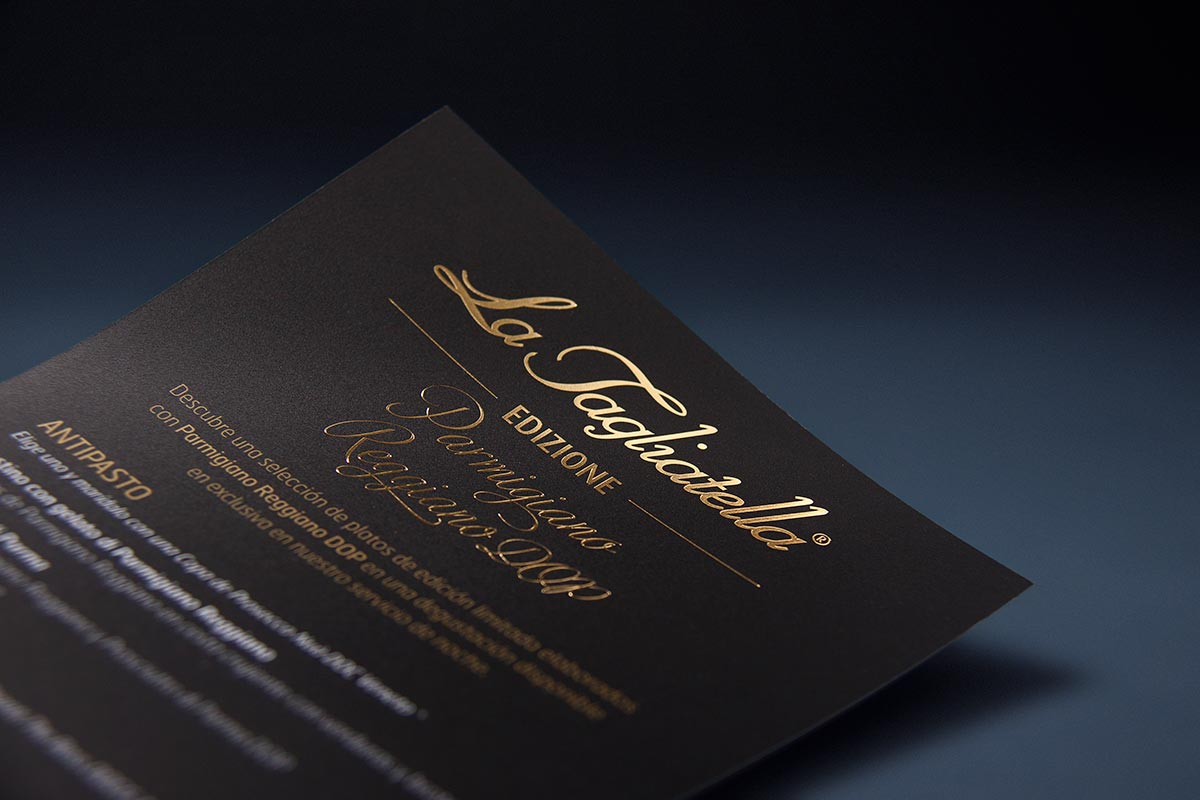 Detail of the golden stamping from the Edizione and coffee menu design for La Tagliatella restaurants. Tea for two - restaurant menu design.