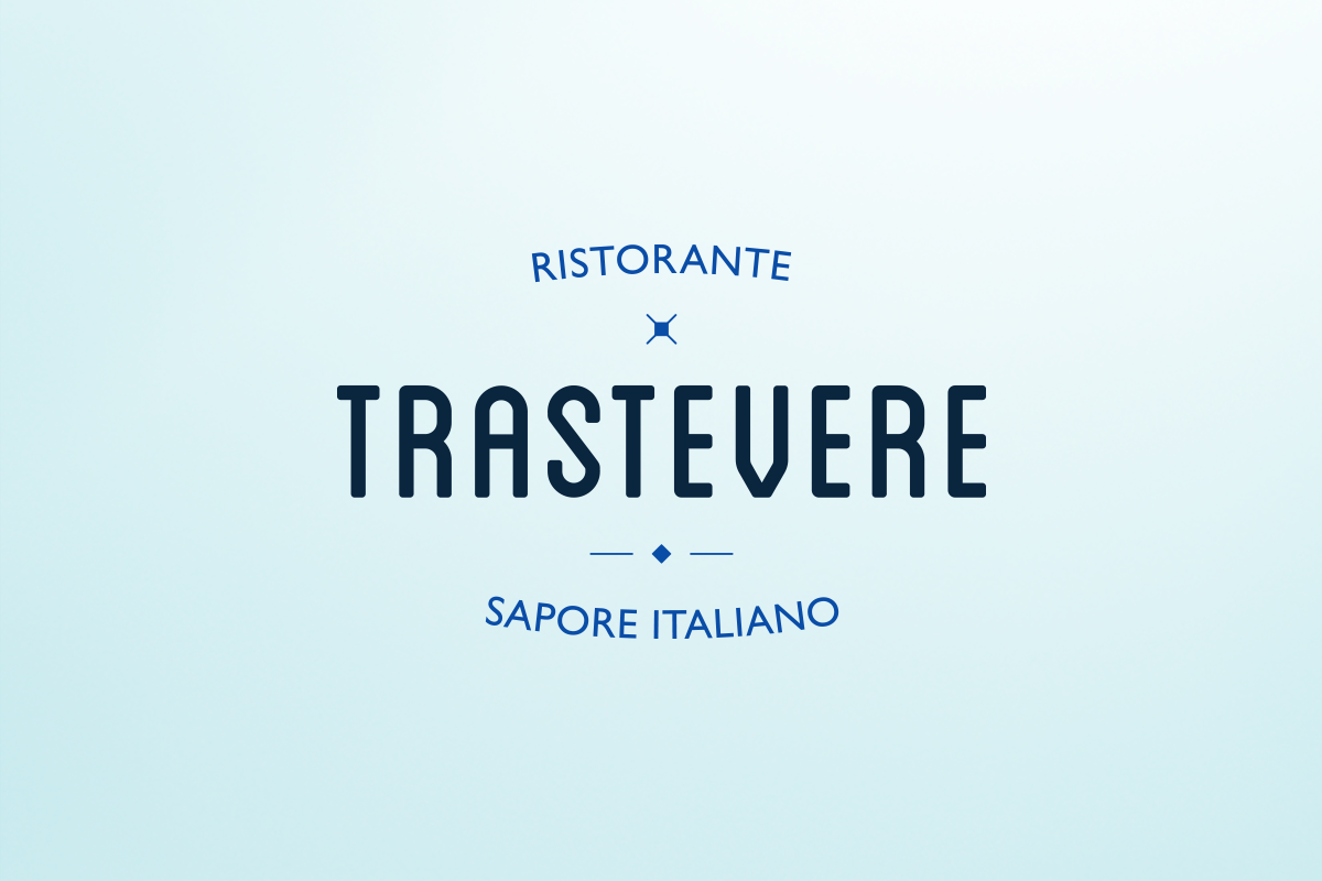 Logo redesign for Trastevere restaurants. Tea for two - restaurant menu design.