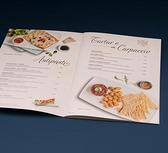 Mobile version of the double spread of the menu redesign for the chain of Italian restaurants La Tagliatella. Tea for two - restaurant menu design.
