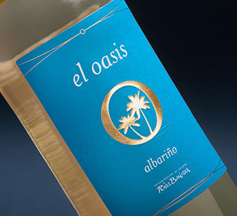 Versión para dispositivos móviles de las etiquetas de vino blanco para El Oasis de Maior de Mendoza. Tea for two - packaging Madrid.