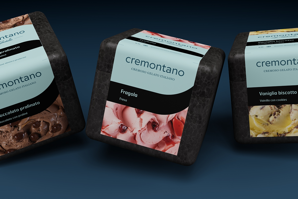 Bodegon del packaging para los helados italianos Creemontano di La Tagliatella. Tea for two - packaging Madrid.