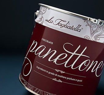 Mobile version of a Detail of the design cans for for Amici artisan Italian panettone. Tea for two - package design.