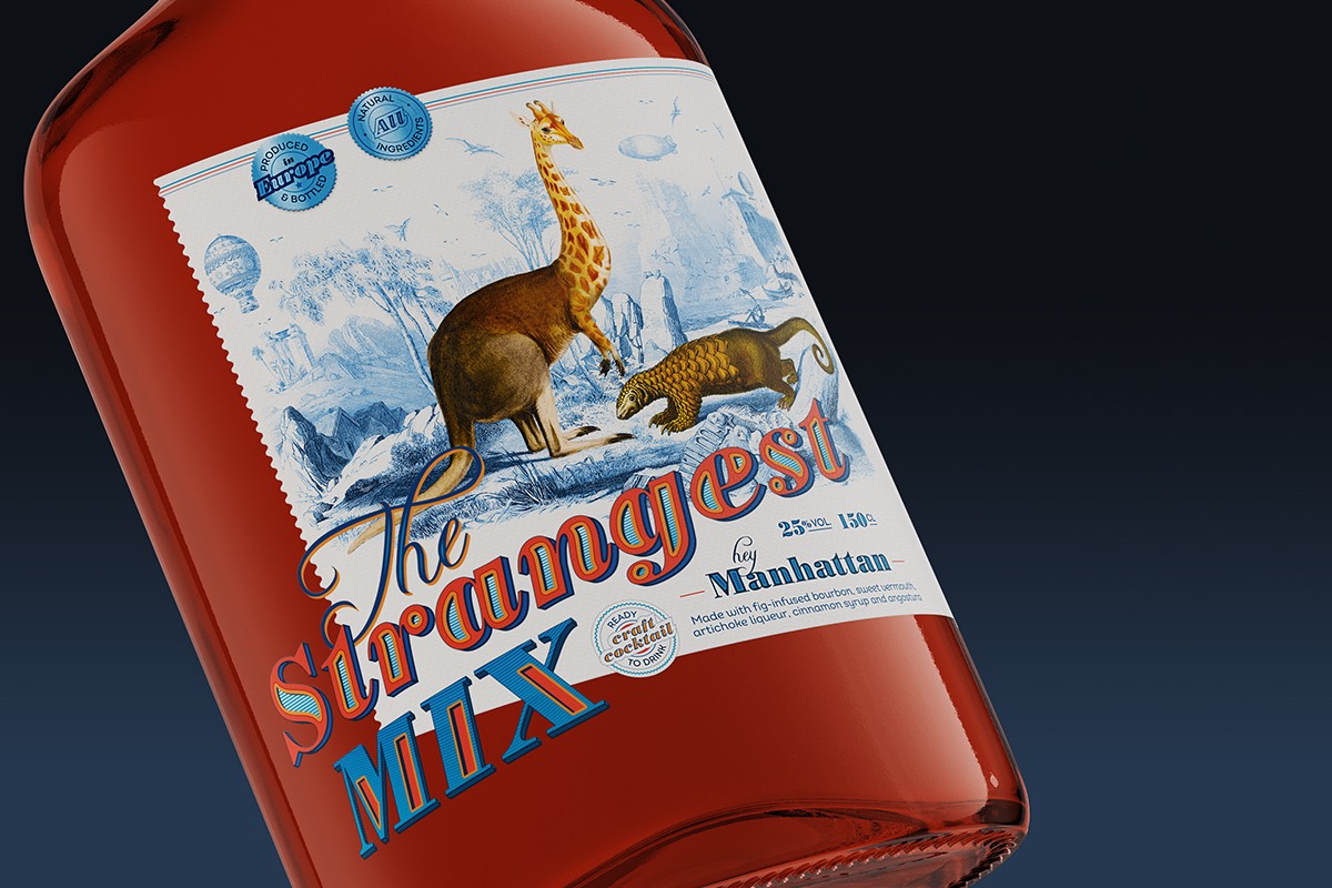 Detail of the bottle label design for The Strangest Mix. Tea for two - package design.