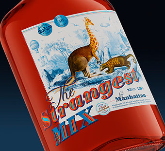 Mobile version of the bottle label design for The Strangest Mix. Tea for two - package design.